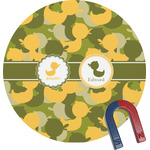 Rubber Duckie Camo Round Fridge Magnet (Personalized)
