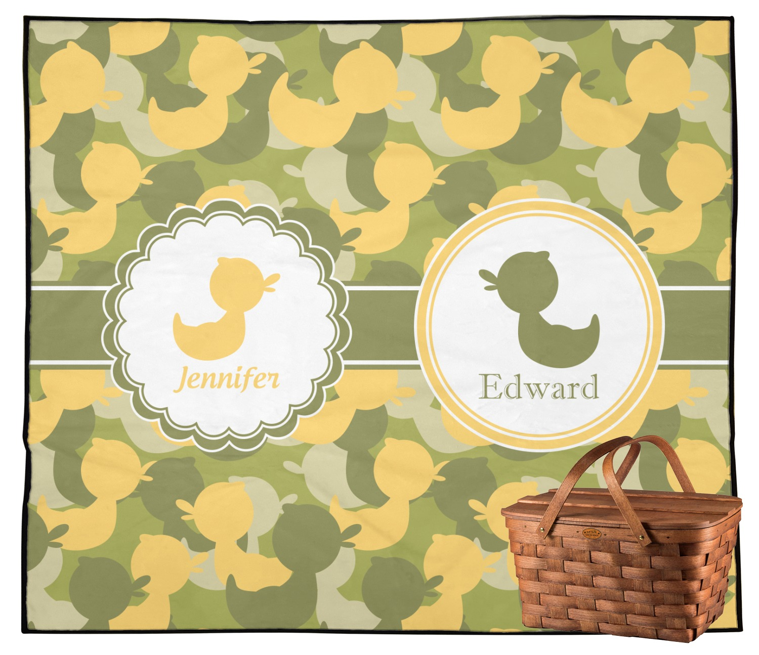 Rubber Duckie Camo Outdoor Picnic Blanket (Personalized
