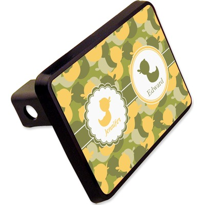 """Rubber Duckie Camo Rectangular Trailer Hitch Cover - 2"""" (Personalized)"""
