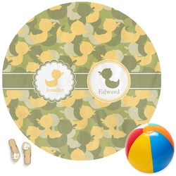 Rubber Duckie Camo Round Beach Towel (Personalized)