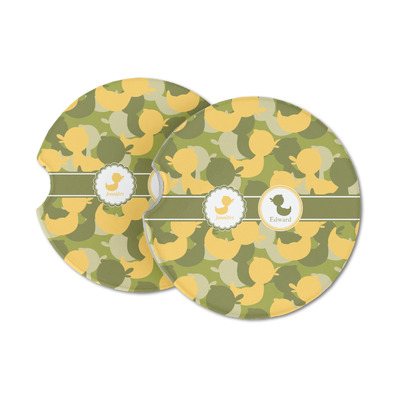 Rubber Duckie Camo Sandstone Car Coasters (Personalized)