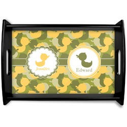 Rubber Duckie Camo Black Wooden Tray (Personalized)