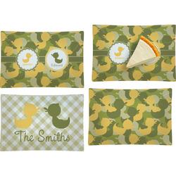 Rubber Duckie Camo Set of 4 Glass Rectangular Appetizer / Dessert Plate (Personalized)