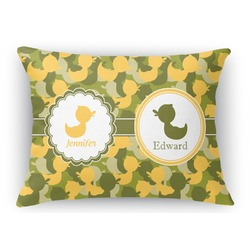 Rubber Duckie Camo Rectangular Throw Pillow Case (Personalized)