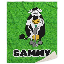 Cow Golfer Sherpa Throw Blanket (Personalized)