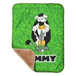 "Cow Golfer Sherpa Baby Blanket 30"" x 40"" (Personalized)"
