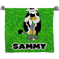 Cow Golfer Full Print Bath Towel (Personalized)