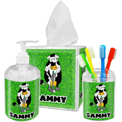 Cow Golfer Acrylic Bathroom Accessories Set w/ Name or Text
