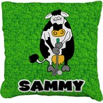 Cow Golfer Faux-Linen Throw Pillow (Personalized)