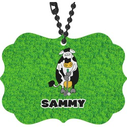 Cow Golfer Rear View Mirror Decor (Personalized)