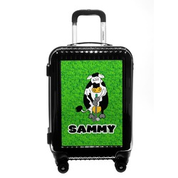 Cow Golfer Carry On Hard Shell Suitcase (Personalized)
