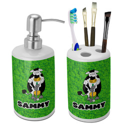 Cow Golfer Bathroom Accessories Set (Ceramic) (Personalized)