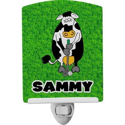 Cow Golfer Ceramic Night Light (Personalized)