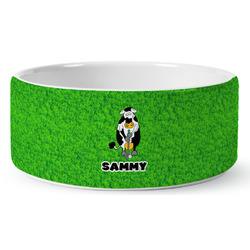 Cow Golfer Ceramic Pet Bowl (Personalized)