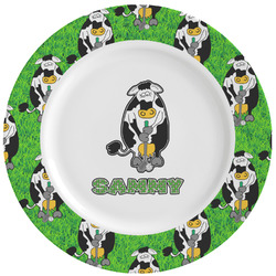 Cow Golfer Ceramic Dinner Plates (Set of 4) (Personalized)