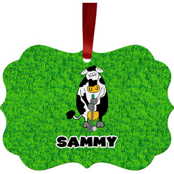 Cow Golfer Ornament (Personalized)