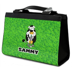 Cow Golfer Classic Tote Purse w/ Leather Trim (Personalized)