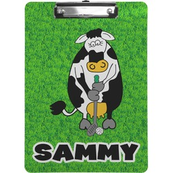 Cow Golfer Clipboard (Personalized)