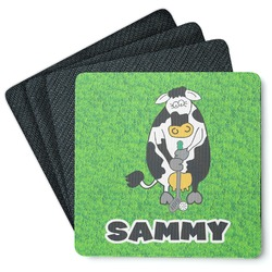 Cow Golfer 4 Square Coasters - Rubber Backed (Personalized)