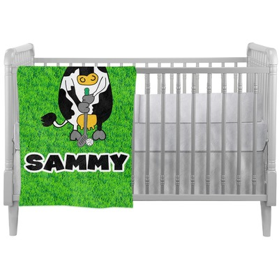 Cow Golfer Crib Comforter / Quilt (Personalized)