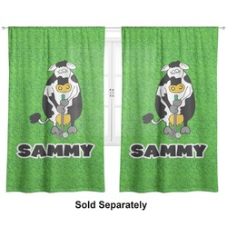 "Cow Golfer Curtains - 40""x84"" Panels - Unlined (2 Panels Per Set) (Personalized)"