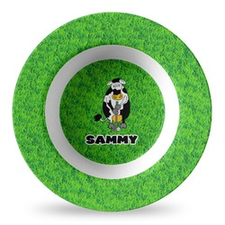 Cow Golfer Plastic Bowl - Microwave Safe - Composite Polymer (Personalized)