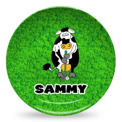 Cow Golfer Microwave Safe Plastic Plate - Composite Polymer (Personalized)