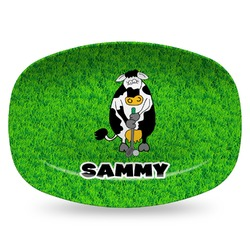 Cow Golfer Plastic Platter - Microwave & Oven Safe Composite Polymer (Personalized)