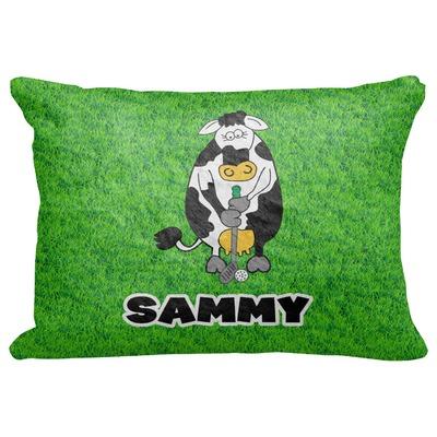 "Cow Golfer Decorative Baby Pillowcase - 16""x12"" (Personalized)"