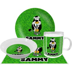 Cow Golfer Dinner Set - 4 Pc (Personalized)