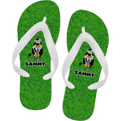 Cow Golfer Flip Flops - Large (Personalized)