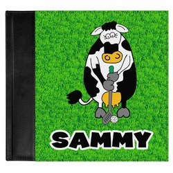 Cow Golfer Genuine Leather Baby Memory Book (Personalized)