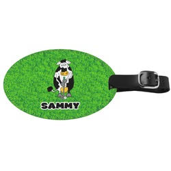 Cow Golfer Genuine Leather Oval Luggage Tag (Personalized)
