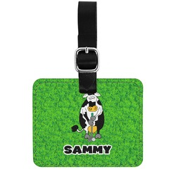 Cow Golfer Genuine Leather Rectangular  Luggage Tag (Personalized)