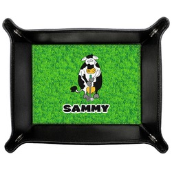 Cow Golfer Genuine Leather Valet Tray (Personalized)