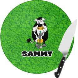Cow Golfer Round Glass Cutting Board (Personalized)