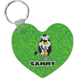 Cow Golfer Heart Keychain (Personalized)