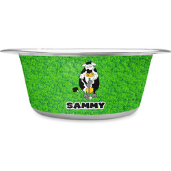 Cow Golfer Stainless Steel Pet Bowl (Personalized)