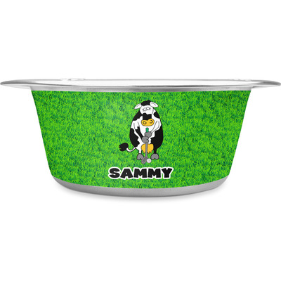 Cow Golfer Stainless Steel Dog Bowl (Personalized)