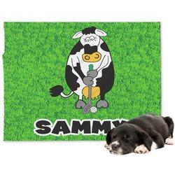 Cow Golfer Minky Dog Blanket - Large  (Personalized)