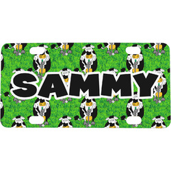 Cow Golfer Mini / Bicycle License Plate (Personalized)