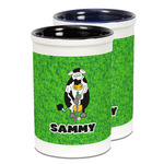 Cow Golfer Ceramic Pencil Holder - Large