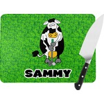 Cow Golfer Rectangular Glass Cutting Board (Personalized)