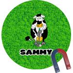 Cow Golfer Round Fridge Magnet (Personalized)