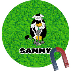 Cow Golfer Round Magnet (Personalized)
