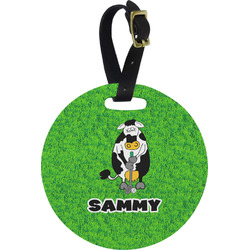 Cow Golfer Round Luggage Tag (Personalized)