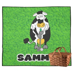 Cow Golfer Outdoor Picnic Blanket (Personalized)
