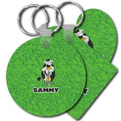 Cow Golfer Plastic Keychains (Personalized)