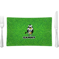 Cow Golfer Rectangular Glass Lunch / Dinner Plate - Single or Set (Personalized)
