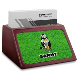 Cow Golfer Red Mahogany Business Card Holder (Personalized)